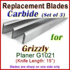 Set of 3 Carbide Blades for Grizzly 15'' Planer, 1021