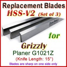 Set of 3 HSS Blades for Grizzly 15'' Planer, G1021Z