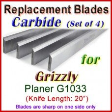 Set of 4 Carbide Blades for Grizzly 20'' Planer, G1033