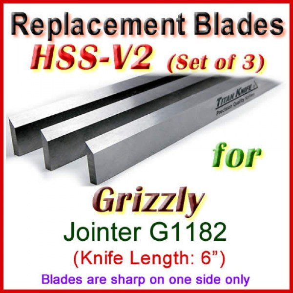 Set Of 3 Hss Blades For Grizzly 6 Jointer G1182