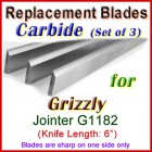 Set of 3 Carbide Blades for Grizzly 6'' Jointer, G1182