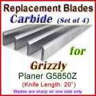 Set of 4 Carbide Blades for Grizzly 20'' Planer, G5850Z