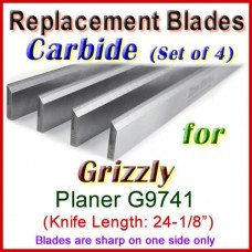 Set of 4 Carbide Blades for Grizzly 24'' Planer, G9741