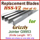 Set of 4 HSS Blades for Grizzly 16'' Jointer, G9953