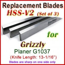 Set of 3 HSS Blades for Grizzly 13'' Planer, G1037