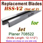 Set of 2 HSS Blades for Jet 12-1/2'' Planer, 708522