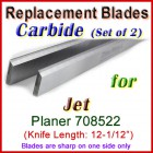 Set of 2 Carbide Blades for Jet 12-1/2'' Planer, 708522