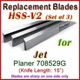 Set of 3 HSS Blades for Jet 15'' Planer, 708529G