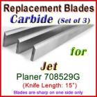 Set of 3 Carbide Blades for Jet 15'' Planer, 708529G