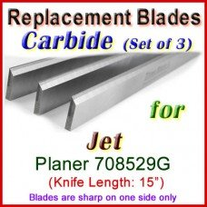 Set of 3 Carbide Blades for Jet 15'' Planer, 708529G