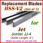 Set of 3 HSS Blades for Jet 4'' Jointer, JJ-4