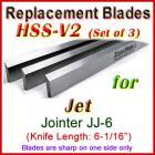 Set of 3 HSS Blades for Jet 6'' Jointer, JJ-6