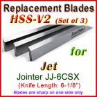 Set of 3 HSS Blades for Jet 6'' Jointer, JJ-6CSX