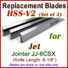 Set of 3 HSS Blades for Jet 6'' Jointer, JJ-6CSX