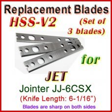 Set of 3 HSS Blades for Jet 6'' Jointer, JJ-6CSX (w. Quick Change Head)