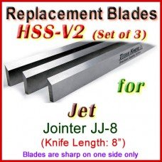 Set of 3 HSS Blades for Jet 8'' Jointer, JJ-8