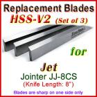 Set of 3 HSS Blades for Jet 8'' Jointer, JJ-8CS