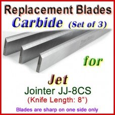 Set of 3 Carbide Blades for Jet 8'' Jointer, JJ-8CS