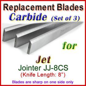 Set of 3 Carbide Blades for Jet 8'' Jointer, JJ-8CS