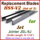 Set of 3 HSS Blades for Jet 6'' Jointer, JSL-6J