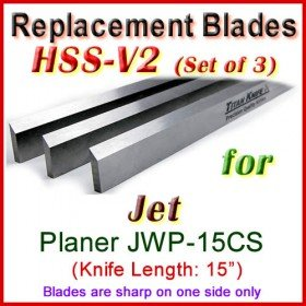 Set of 3 HSS Blades for Jet 15'' Planer, JWP-15CS