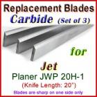 Set of 3 Carbide Blades for Jet 20'' Planer, JWP 20H-1