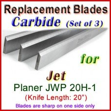 Set of 3 Carbide Blades for Jet 20'' Planer, JWP 20H-1