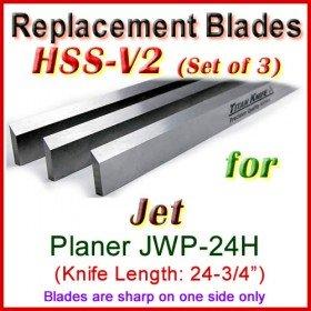 Set of 3 HSS Blades for Jet 25'' Planer, JWP-24H