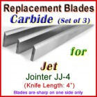 Set of 3 Carbide Blades for Jet 4'' Jointer, JJ-4