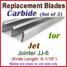 Set of 3 Carbide Blades for Jet 6'' Jointer, JJ-6