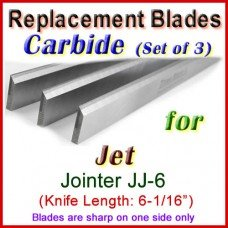 Set of 3 Carbide Blades for Jet 6'' Jointer, JJ-6