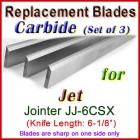 Set of 3 Carbide Blades for Jet 6'' Jointer, JJ-6CSX