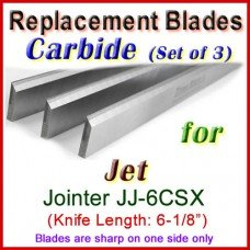 Set of 3 Carbide Blades for Jet 6'' Jointer, JJ-6CSX