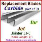 Set of 3 Carbide Blades for Jet 8'' Jointer, JJ-8