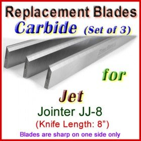Set of 3 Carbide Blades for Jet 8'' Jointer, JJ-8