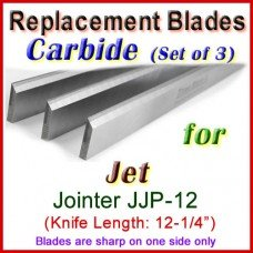 Set of 3 Carbide Blades for Jet 12'' Jointer, JJP-12
