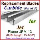 Set of 3 Carbide Blades for Jet 13'' Planer, JPM-13