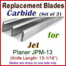 Set of 3 Carbide Blades for Jet 13'' Planer, JPM-13