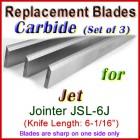 Set of 3 Carbide Blades for Jet 6'' Jointer, JSL-6J
