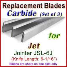Set of 3 Carbide Blades for Jet 6'' Jointer, JSL-6J
