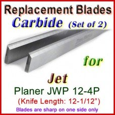 Set of 2 Carbide Blades for Jet 12-1/2'' Planer, JWP 12-4P