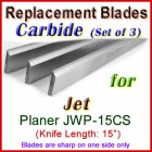Set of 3 Carbide Blades for Jet 15'' Planer, JWP-15CS
