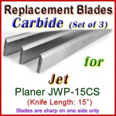 Set of 3 Carbide Blades for Jet 15'' Planer, JWP-15CS