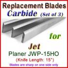 Set of 3 Carbide Blades for Jet 15'' Planer, JWP-15HO
