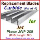 Set of 4 Carbide Blades for Jet 20'' Planer, JWP-208