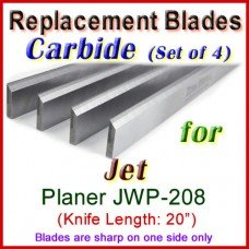 Set of 4 Carbide Blades for Jet 20'' Planer, JWP-208