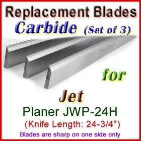 Set of 3 Carbide Blades for Jet 25'' Planer, JWP-24H