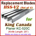 Set of 4 HSS Blades for King Canada 20'' Planer, KC-520C
