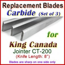 Set of 3 Carbide Blades for King Canada 8'' Jointer, CT-200