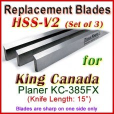 Set of 3 HSS Blades for King Canada 15'' Planer, KC-385FX